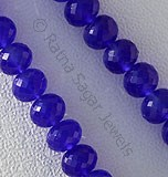Dyed Navy Blue Chalcedony Faceted Rondelle