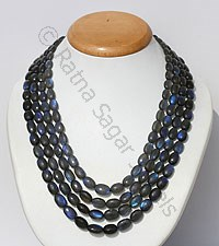 Labradorite Blue Fire Faceted Oval Necklace