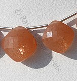 Orange Moonstone Puffed Diamond Cut
