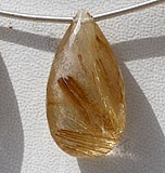 Golden Rutilated Quartz  Flat Pear Briolette