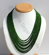 Chrome Diopside Faceted Rondelle Necklace