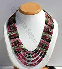 Tourmaline Gemstone Faceted Rondelle Necklace
