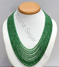 Tsavorite faceted rondelles necklace