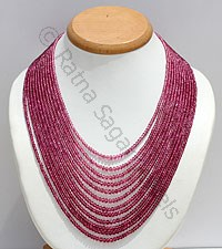 Pink Tourmaline Faceted Rondelles Necklace
