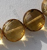 Honey Quartz Faceted Coin
