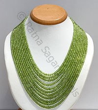 Peridot Faceted Rondelle Necklace