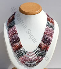 Multi Spinel Faceted Oval Necklace