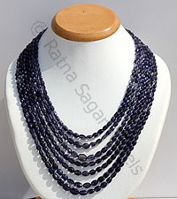 Iolite Gemstone Faceted Oval Necklace