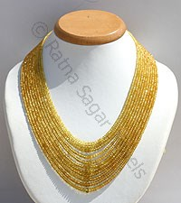 Yellow Sapphire Faceted Rondelle Necklace