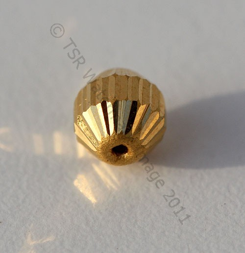 18k Gold Faceted Half Round beads