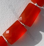 Carnelian Gemstone Faceted Rectangle
