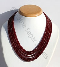 Ruby Gemstone Faceted Rondelle Necklace