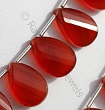 Carnelian Gemstone Twisted Flat Pear