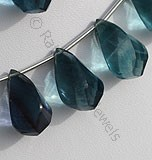Fluorite Gemstone Beads  Twisted Tear Drops