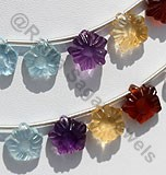 Semi Precious Multi  Gemstone Flower Beads
