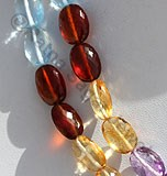 Semi Precious Multi  Oval Faceted