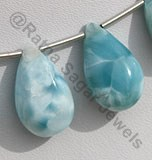 Larimar Gemstone Flat Pear Plain