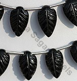 Black Tourmaline Carved Leaf