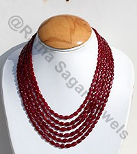Ruby Gemstone Oval Faceted Necklace