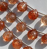Sunstone Gemstone  Heart Briolette