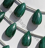 Malachite Gemstone Flat Pear Briolette