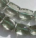 Green Amethyst Gemstone Faceted Rectangles
