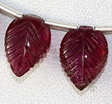 Pink Tourmaline Gemstone  Carved Leaf