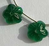 Green Onex  Gemstone Flower Beads