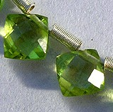 Peridot Gemstone Beads  Puffed Diamond Cut