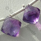 Amethyst Gemstone Puffed Diamond Cut