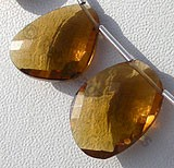 Cognac Quartz  Faceted Sliced Beads