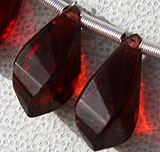 Garnet Gemstone Twisted Tear Drops
