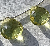 Lemon Quartz  Concave Cut Faceted Heart