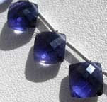Iolite Gemstone Beads Puffed Diamond Cut