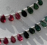 Tourmaline Gemstone Beads Flat Pear Briolette