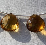 Cognac Quartz  Concave Cut Faceted Heart