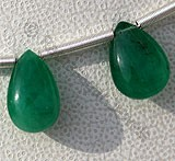 Emerald Gemstone Beads  Flat Pear Plain
