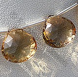 Champagne Citrine  Concave Cut Faceted Heart