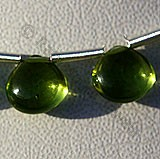 Peridot Gemstone Beads  Plain Heart