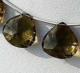 Olive Quartz  Concave Cut Faceted Heart