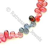 Multi Spinel  Flat Pear Briolette