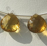 Honey Quartz  Concave Cut Faceted Heart