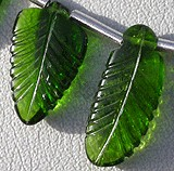 Chrome Diopside Carved Leaf Beads