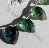 Fluorite Gemstone Beads  Carved Leaf