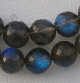 Labradorite Blue Power Faceted Rounds Beads