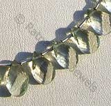 Green Amethyst Gemstone Twisted Flat Pear
