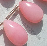 Pink Opal Gemstone  Flat Pear Plain