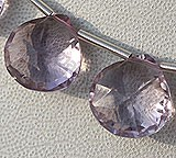 Pink Amethyst  Concave Cut Faceted Heart