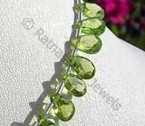 Peridot Gemstone Beads  Twisted Flat Pear