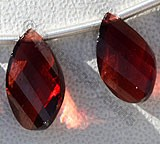 Garnet Gemstone  Twisted Flat Pear